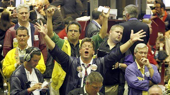 Traders in the soy bean pit at the Chicago Board of Trade.