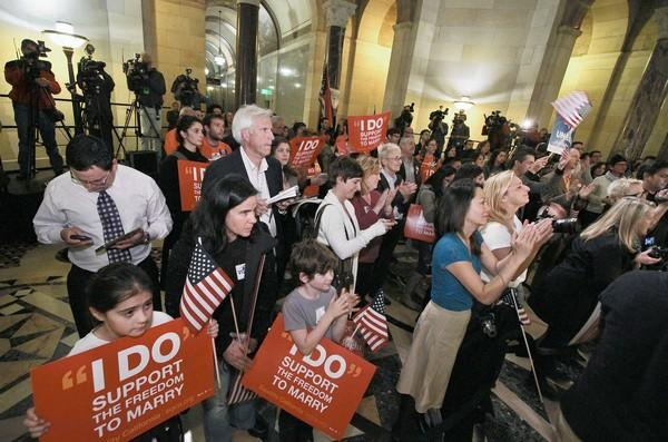 Supporters of same-sex marriage gathered at City Hall in February to cheer the Prop. 8 ruling.
