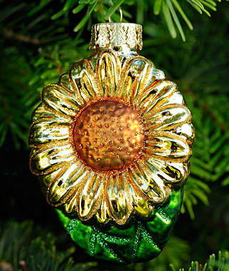 A shiny sunflower is featured in the Burpee Christmas tree ornament collection.