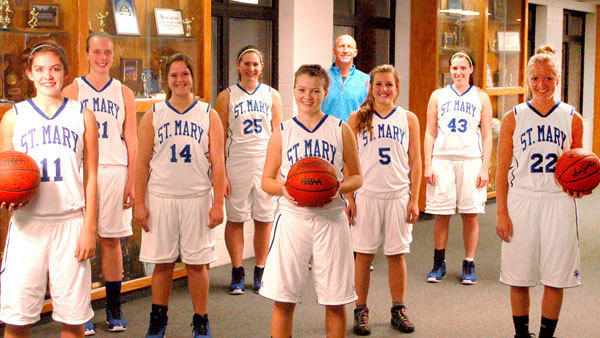 The 2012-13 St. Mary Snowbirds: Kari Borowiak, Jada Bebble, Chrissy Smith, Bekah Masko, Caylee Lawnichak, Bekah Myler, Sarah Long, Mary Spyhalski, coach Dan Smith.
