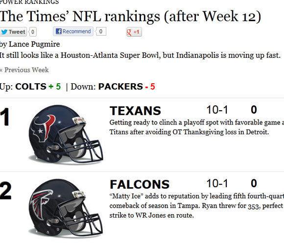 Times' NFL power rankings