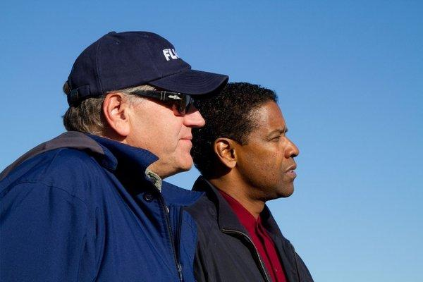 Robert Zemeckis, left, and Denzel Washington