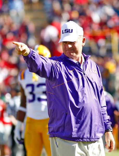 LSU Tigers head coach Les Miles during pre game warmups prior to facing the Ole Miss Rebels at Tiger Stadium. LSU defeated Ole Miss 41-35.