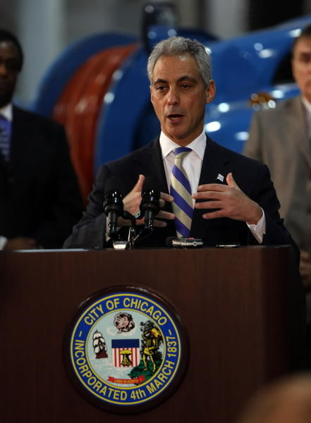 Mayor Rahm Emanuel, seen here Monday, did not back away from comments that CTA riders have a choice whether to drive or take a bus after fare hikes go into effect.