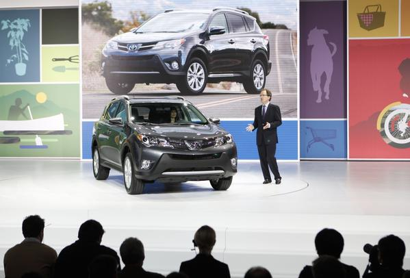 Bill Fay of Toyota Motor Sales kicks off the 2012 Los Angeles Auto Show with the world debut of the all-new 2013 RAV4, the first redesign of the hot-selling small SUV in seven years.