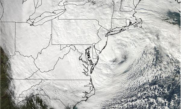 NASA's Aqua satellite captured a visible image of Superstorm Sandy's massive size as seen Oct. 29, covering 1.8 million square miles.