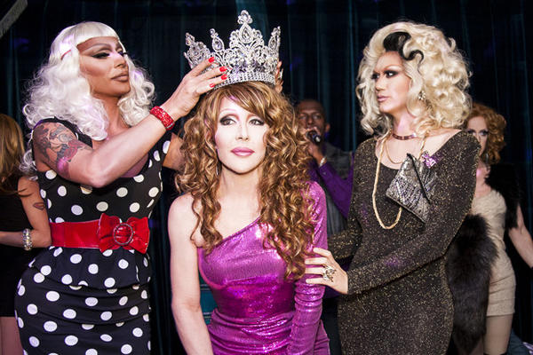 "Raven (left) and Manila Luzon (right) crown Chad Michaels the Queen of Queens, the winner of ""RuPaul's Drag Race All Stars."""