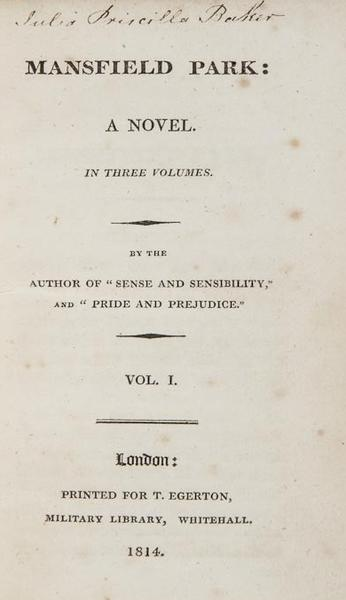 "First edition Jane Austen novels aren't easy to come by; this copy of ""Mansfield Park"" is being auctioned Nov. 29. (<a href=""http://www.bloomsburyauctions.com/detail/36002/116.0"">Bloomsbury Auctions, est. $8,000-$11,000</a>)"