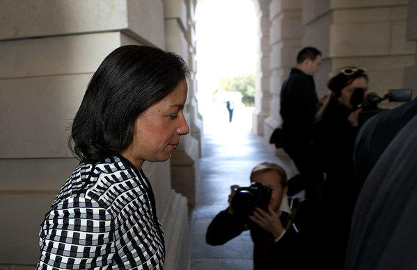 U.S. Ambassador to the United Nations Susan Rice leaves the Capitol after meeting with members of the Senate.