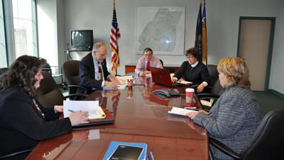 Somerset County finance director Rebecca Canavan, Commissioner Joe Betta, Commissioner John Vatavuk, chief clerk Carolyn Zambanini and Commissioner Pamela Tokar-Ickes discuss the county's 2013 budget at a press conference Wednesday.