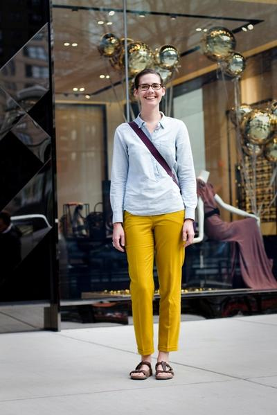 Whitney Smith, 29<br><br> Neighborhood: Polson, Montana<br><br> Fashion Sense in 3 Words: Preppy, J. Crew, Comfortable <br><br>Inspiration: Elle Magazine<br><br> Advice for Opposite Sex: Wear more color. <br><br>Occupation: Graduate Student at Penn State