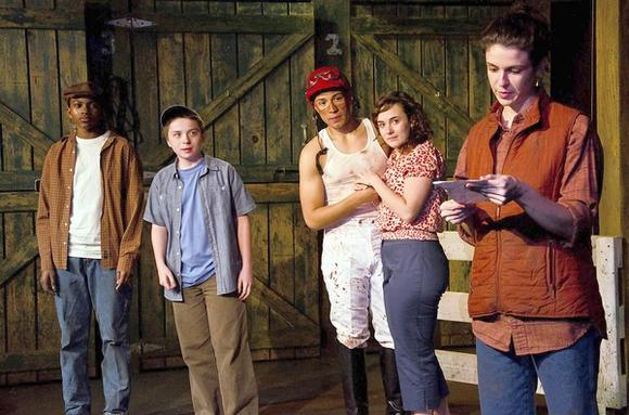 "Destin Teamer, Johnny Meyer, Anthony DiNicola, Hilary Williams and Lucy Carapetyan in Theatre Seven of Chicago's production of ""American Storm."""
