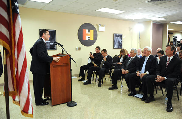 Bethlehem Mayor, John Callahan, speaks at a press conference held to announce that the Lehigh Heavy Forge Corporation and the Babcock & Wilcox Company have made an agreement to get their supply of components for B&W mPower small modular reactor from the Lehigh Heavy Forge Corporation.