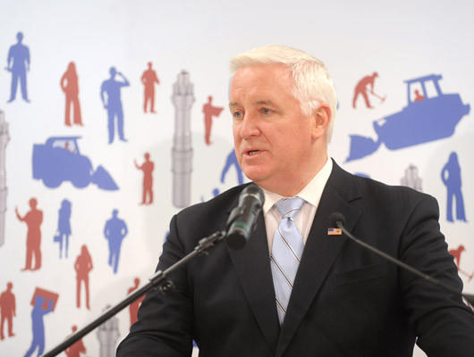 Governor Tom Corbett speaks at a press conference to announce that the Lehigh Heavy Forge Corporation and the Babcock & Wilcox Company have made an agreement to get their supply of components for B&W mPower small modular reactor from the Lehigh Heavy Forge Corporation.