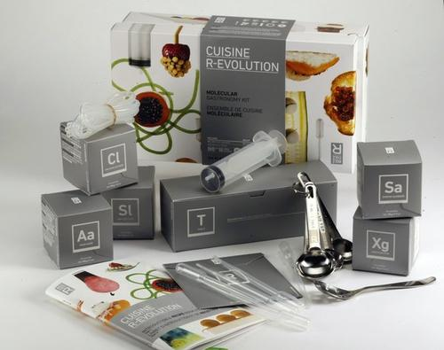 Molecular gastronomy kit <br/> This kit is just about good geeky fun. You get packets of agar-agar, calcium lactate, sodium alginate, soy lecithin and xanthan gum as well as all kinds of pipettes and tubing, and a DVD to show you how to use them. It's like a kid's chemistry set that lets you make your own spherical olives. <br/> $58.95, molecule-r.com