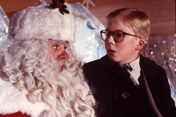 "Ralphie Parker (Peter Billingsley) meets a department-store Santa (Jeff Gillen) in ""A Christmas Story."""