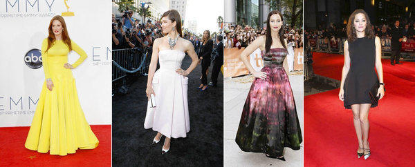 "Left to right: Julianne Moore in a Dior knit top and ball skirt at the Emmy Awards on Sept. 23. Jessica Biel in a traditional Dior creation at the ""Total Recall"" premiere in Augustat Grauman's Chinese Theatre in Hollywood. Jennifer Lawrence in a cutting edge Dior ball gown design at the ""Silver Linings Playbook"" premiere in September at the Toronto International Film Festival. Marion Cotillard at the ""Rust and Bone"" premiere in October at the BFI London Film Festival."