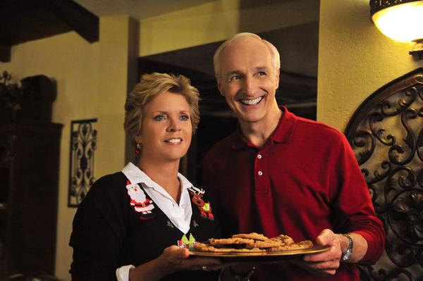 "Meredith Baxter and Michael Gross in the Hallmark Channel's ""Naughty or Nice."""