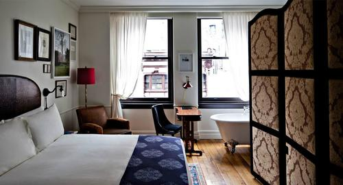 Steps from Madison Square Park, this hotel offers travelers 168 rooms inspired by some of Europe's grand hotels. Amenities include original artwork, mahogany writing desks, handmade rugs, walk-in showers, complimentary Wi-Fi, and beyond. Average nightly rate is $385 and up.
