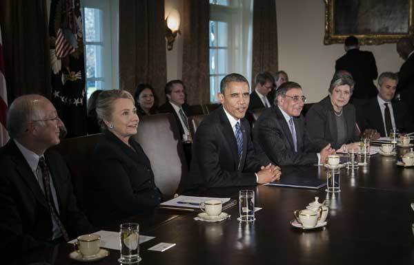 "President Barack Obama speaks during a meeting with his Cabinet on Wednesday. Part of the meeting focused on the ""fiscal cliff."""