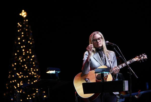 "Aimee Mann, shown during her 2011 holiday concert in Los Angeles, sings Jimmy Webb's melancholy ""Whatever Happened to Christmas."""