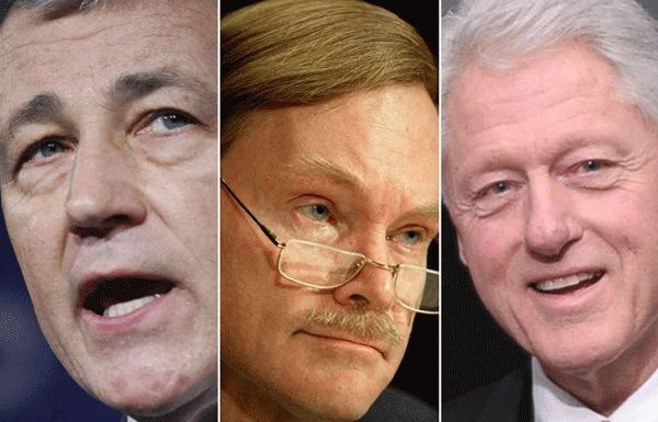 Who will replace Secretary of State Hillary Rodham Clinton? Three unconventional options: Chuck Hagel, left, Robert Zoellick, and former President Bill Clinton.