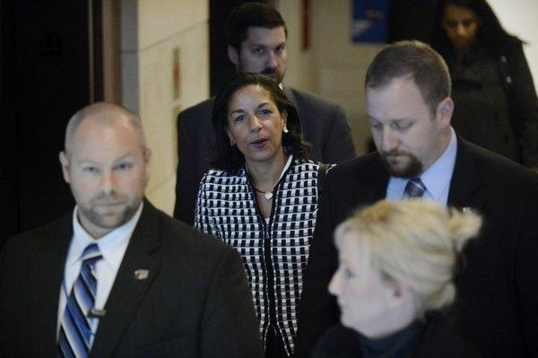 Ambassador to the United Nations Susan Rice walks out of a meeting with Sen. Bob Corker (R-Tenn.) on Wednesday.