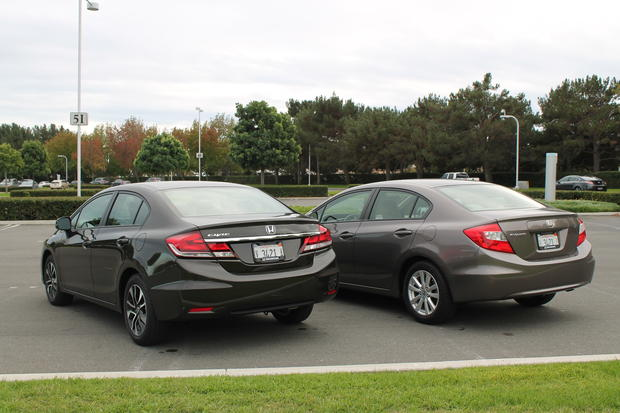 More extensive updates to the rear of the 2013 Honda Civic, left, include new taillights, a trunklid and a rear bumper.