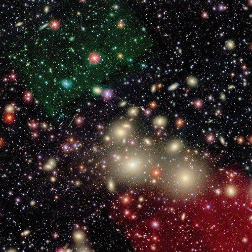 The enormous black hole was found at the center of NGC 1277, a flat, compact yellowish galaxy near the center of this galaxy cluster in the constellation Perseus.