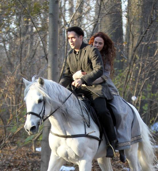 "Colin Farrell and Jessica Brown Findlay film ""Winters Tale"" in Prospect Park Brooklyn on Nov. 28, 2012 in New York City."