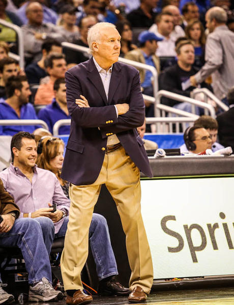 "San Antonio coach Gregg Popovich reacts during second quarter action of a game against the Orlando Magic at <a class=""taxInlineTagLink"" id=""PLREC000041"" title=""Amway Center"" href=""/topic/sports/amway-center-PLREC000041.topic"">Amway Center</a> in Orlando, Fla. on Wednesday November 28, 2012."