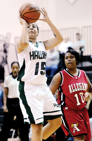 Hagerstown's Gabby Comfort shoots for two points against Allegany in the second half Wednesday night.