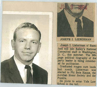 After graduating Yale, Lieberman worked at Democratic Party Leader John Bailey's Washington firm. This is the Courant clipping from July, 1964