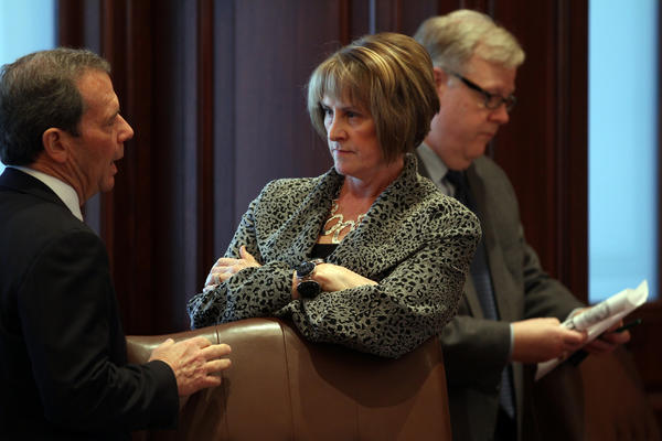Senate President John Cullerton (D-Chicago) talks with Senate Minority Leader Christine Radogno (R-Lemont) on the Senate floor during the first day of the Veto Session Tuesday at the State Capitol in Springfield.