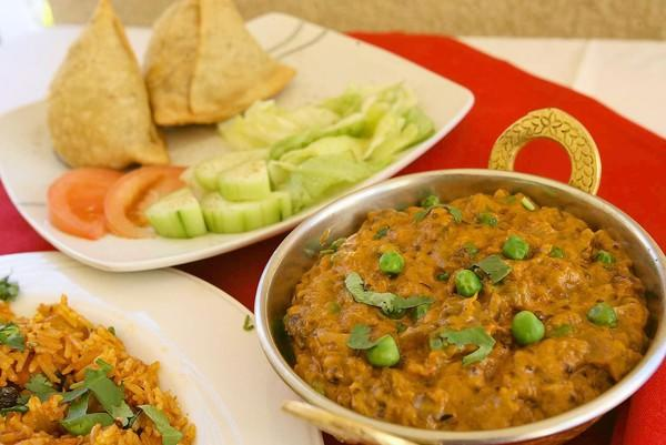 Baingan bharta and samosas are offered at Himalayan Grill at Peter's Landing Marina.