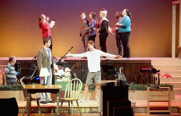 "Actors rehearse scenes from ""Tinseltown Christmas"" at UC Irvine's Claire Trevor Theatre on Saturday."