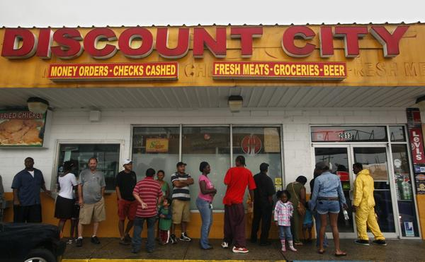Gas and food are in high demand as Hurricane Isaac continues to cause electricity outages in New Orleans.