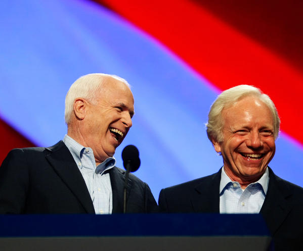 Republican U.S presidential nominee U.S. Sen. John McCain (R-AZ) (L) stands with U.S. Joseph Lieberman (I-CT) during a walk though day four of the Republican National Convention at the Xcel Energy Center on September 4, 2008 in St. Paul, Minnesota.