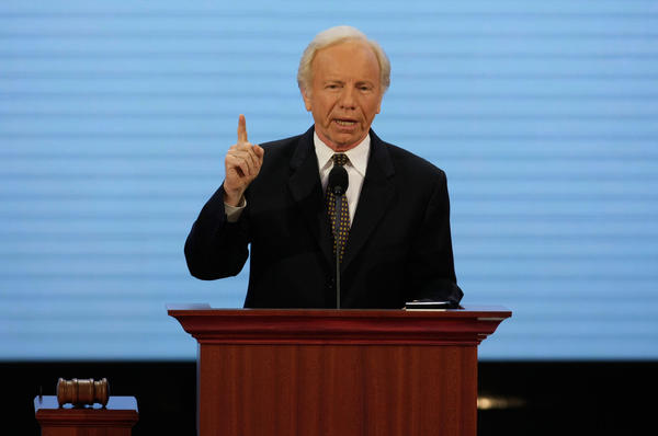 U.S. Sen. Joe Lieberman (I-CT) speaks during day two of the Republican National Conventionat the Xcel Energy Center on September 2, 2008 in St. Paul, Minnesota. The GOP nominated U.S. Sen. John McCain (R-AZ) as the Republican choice for U.S. President on the last day of the convention.