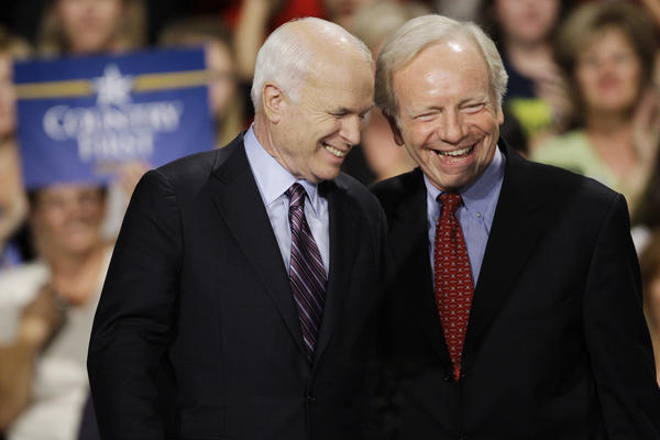 2008 Republican presidential candidate Sen. John McCain, R-Ariz., left, laughs with Sen. Joseph Lieberman, I-Conn., during a rally in Downingtown, Pa., Thursday, Oct. 16, 2008.