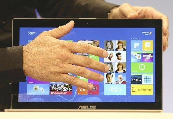 The Microsoft Windows 8 operating system is unveiled at a news conference in New York City. Windows 8 includes a new interface called the Start Screen, which was designed for tablets and touchscreen computers and features moving tiles similar to those on Windows Phone devices.