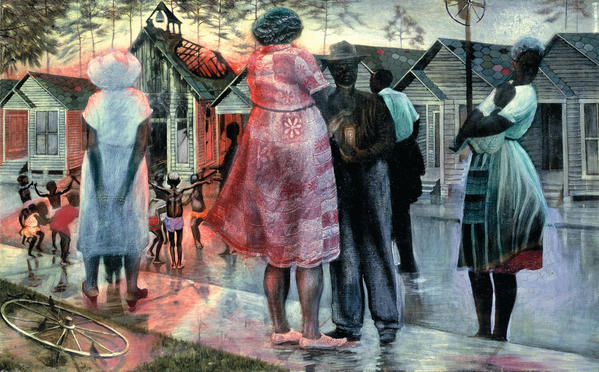 """Shotgun, Third Ward,"" by former Hampton University artist John Biggers, 1966, is one of the works on view at the Muscarelle Museum of Art in ""African American Art: Harlem Renaissance, Civil Rights Era, and Beyond."""