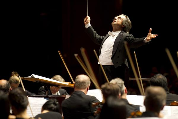 Music Director Riccardo Muti and the Chicago Symphony Orchestra conclude their performance of Strauss' Death and Transfiguration during their first concert on tour at the Grosses Festspielhaus in Salzburg, Austria.