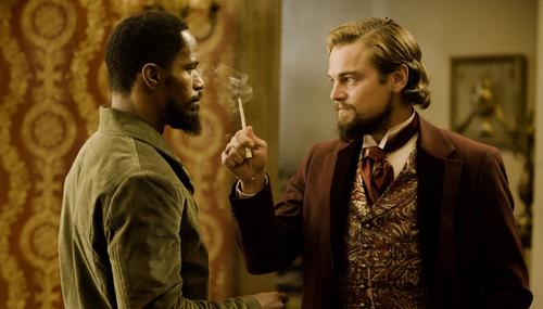 "Jamie Foxx, left, Leonardo diCaprio, right, Samuel L. Jackson and Christoph Waltz topline Quentino Tarantino's first film since ""Inglorious Basterds,"" a spaghetti Western about a freed slave and a bounty hunter."
