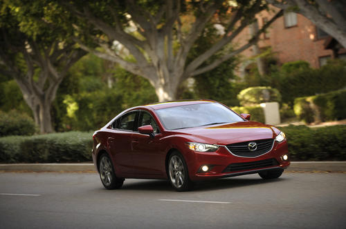 The 2014 Mazda 6 sedan is available with a 184-horsepower four-cylinder engine right now; a diesel engine will be available later in 2013.