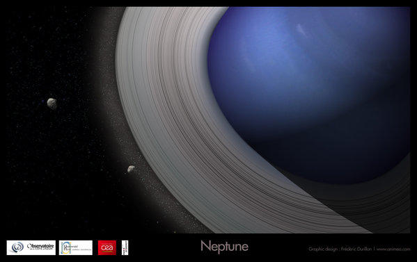 A new model of moon formation suggests that most moons formed from rings that drifted away from their planets. Above, an artist's rendering of Neptune with rings giving birth to its moons.