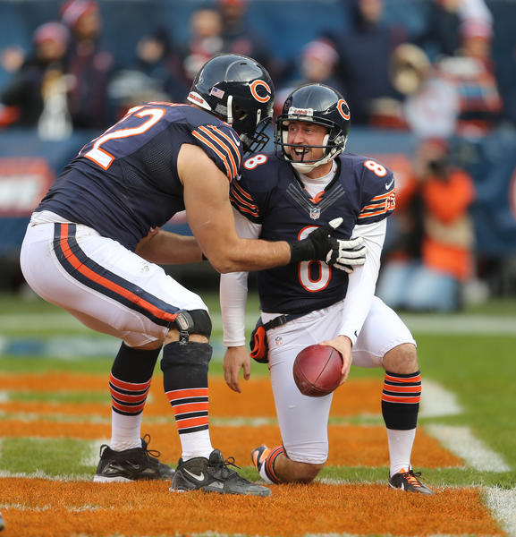 You can't blame Bears punter/holder Adam Podlesh (right) for being excited about a 2-point conversion. (Nuccio DiNuzzo/Tribune)