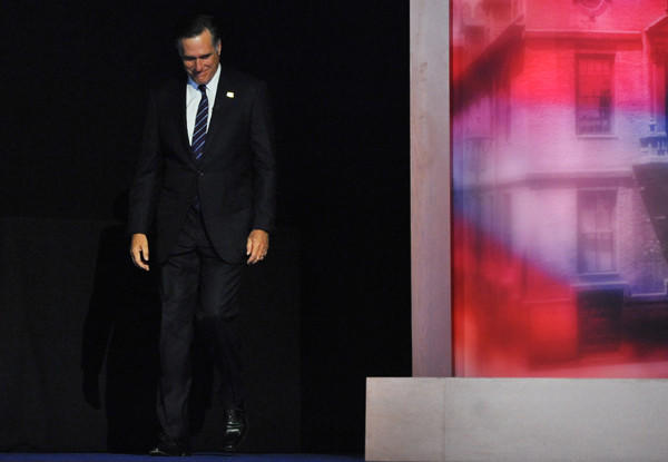 Mitt Romney walks onstage in Boston to concede the 2012 presidential election to Mitt Romney.