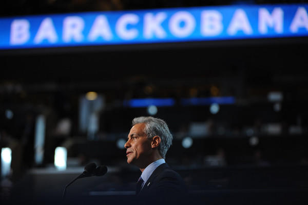 Emanuel, speaking here at the Democratic National Convention, dealt with the NATO protest in Chicago and a teacher's strike.