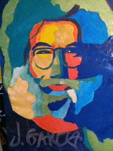 "Steve Felix's painting of Jerry Garcia for his ""Personalities"" exhibit."